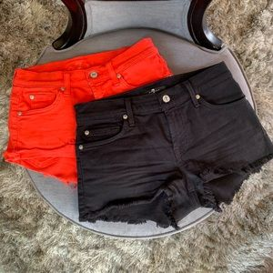 7FAM Black & Orange Cut Off Jean Shorts Bundle